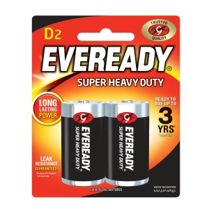 EVEREADY SUPER HEAVY DUTY BATTERY D - PACK OF 2