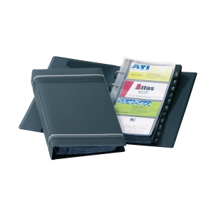 DURABLE VISIFIX BLACK BUSINESS CARD RING BINDER FILE - 200 CARD CAPACITY