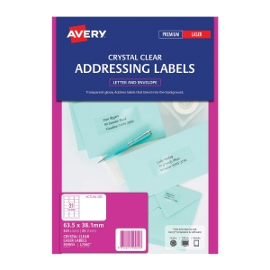 Avery L7560-25 Clear Laser Label 63.5x38.1mm - Box of 525