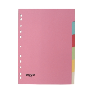 LYRECO BUDGET ASSORTED PASTEL A4 6 PART DIVIDERS 160GSM