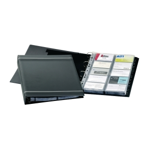 DURABLE VISIFIX BLACK A4 BUSINESS CARD RING BINDER FILE - 200 CARD CAPACITY