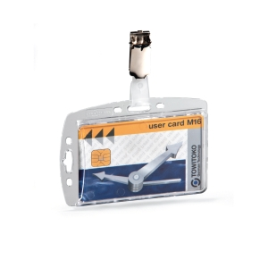 DURABLE ENCLOSED SECURITY PASS HOLDER WITH CLIP