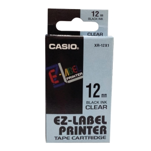 Casio XR-12X Labelling Tape Black/ Clear 12mm X 8m
