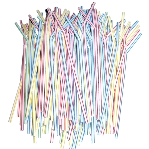 FLEXIBE PLASTIC STRAW 8 INCH - PACK OF 100