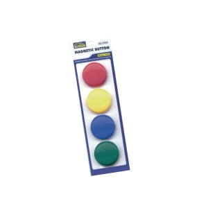 SUREMARK ASSORTED COLOUR BUTTON MAGNET 40MM - PACK OF 4