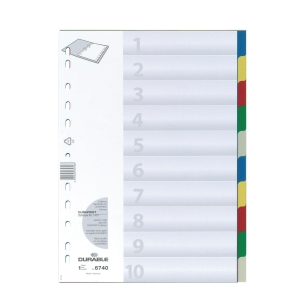 Durable PP Assorted Colour A4 Divider 10 Tabs