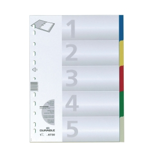 DURABLE PP ASSORTED COLOUR A4 DIVIDER 5 TABS