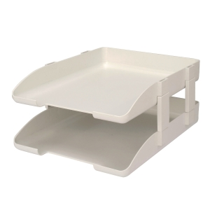 LEXTOP WHITE LETTER TRAY WITH RISER - PACK OF 2