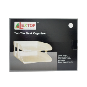 LEXTOP BLACK LETTER TRAY WITH RISER - PACK OF 2