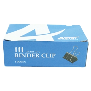 BLACK BINDER CLIPS 25MM - BOX OF 12