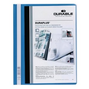 DURABLE DURAPLUS BLUE A4 FOLDER - 80 SHEETS CAPACITY