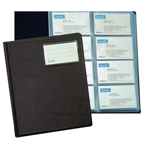 BANTEX PVC BLACK BUSINESS CARD ALBUM - 320 CARDS CAPACITY