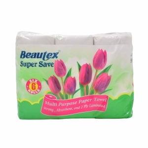 Rolls Beautex Supersave 9  Kitchen Towel 60 Sheets 2 Ply - Pack of 6
