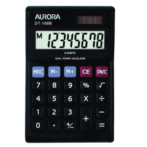 AURORA 8 DIGITS PORTABLE BLACK CALCULATOR