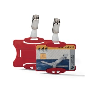 DURABLE RED SECURITY PASS HOLDER WITH CLIP