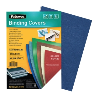 FELLOWES FSC CERTIFIED ROYAL BLUE A4 BINDING COVER 250GSM - PACK OF 100