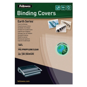 FELLOWES EARTH SERIES TRANSPARENT A4 BINDING COVER - PACK OF 100