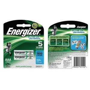 ENERGIZER HR11 AAA RECHARGE BATTERIES - PACK OF 2