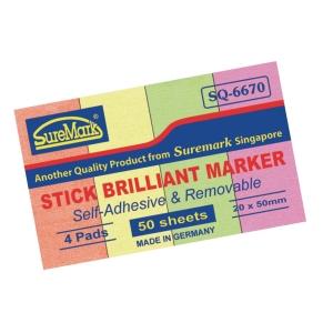 Suremark Paper Stick Brilliant Marker  20 X 50mm - 50 Sheets X 4 Colours
