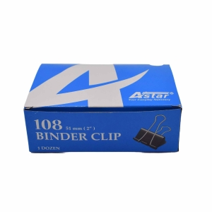 BLACK BINDER CLIPS 51MM - BOX OF 12
