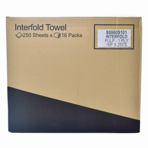 INTERFOLD HANDTOWEL 250 SHEETS 1PLY - PACK OF 16