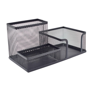 Deli 3 in 1 Metal Desk Organiser H100 X W155 X D100mm Black
