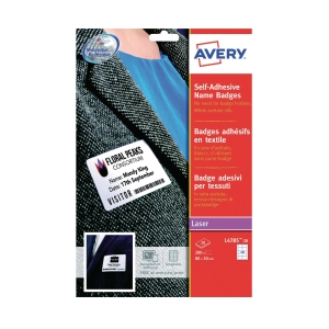 AVERY L4784-15 WHITE NAME BADGE LASER LABEL 80X50MM  - BOX OF 200
