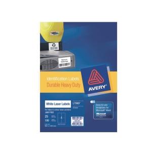 AVERY L7069 HEAVY DUTY WHITE LABEL 99.1X139MM - BOX OF 100