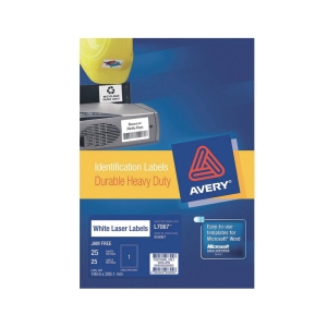 Avery L7067 Heavy Duty White Label 210x297mm - Box of 25