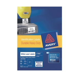 AVERY L7068 HEAVY DUTY WHITE LABEL 199.6X143.5MM - BOX OF 50