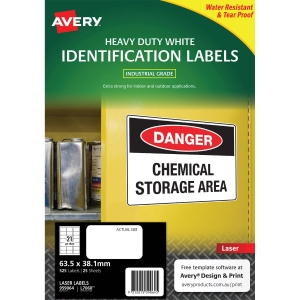 Avery L7060 Heavy Duty White Label 63.5x38.1mm - Box of 525