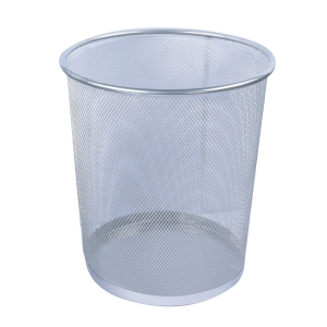 MESH METAL ROUND SILVER WASTE BIN 235 X 270MM