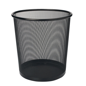 MESH METAL ROUND BLACK WASTE BIN 235 X 270MM