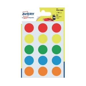 Avery Dot Label Assorted Color  19mm - Pack of 90