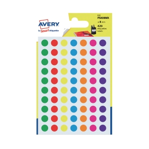 Avery Dot Label 8mm Assorted Colour - Pack of 420