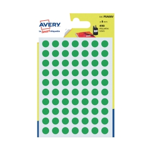 Avery Dot Label Green  8mm - Pack of 490