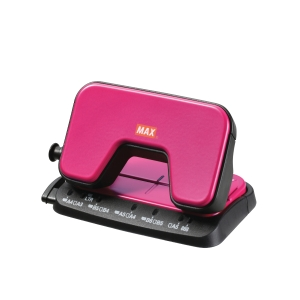 MAX DP-15T PINK 2 HOLE PUNCHER - 12 SHEETS CAPACITY