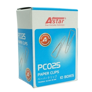 ASTAR TRIANGLE SILVER PAPER CLIP 25MM - PACK OF 10 BOXES