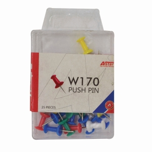 ASTAR ASSORTED COLOUR PUSH PIN - PACK OF 25
