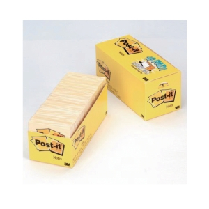 POST-IT CANARY YELLOW STICKY NOTES CABINET PACK 76X76MM - PACK OF 18