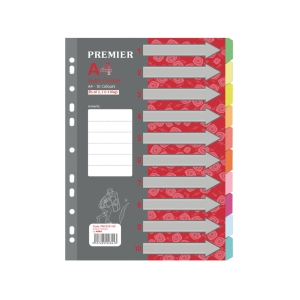 PREMIER 10 TAB COLOUR DIVIDER - PACK OF 5