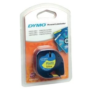 DYMO 91202 Letratag Plastic Tape 12mm x 4m Black on Yellow