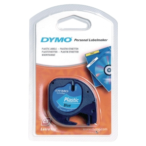 DYMO 91205 Letratag Plastic Tape 12mm x 4m Black on Blue