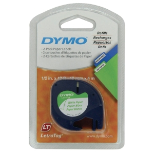 DYMO 91200 Letratag Paper Tape 12mm x 4m Black on White