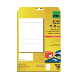 Sigel LA138 Universal Label White 70 X 37mm - Pack of 600