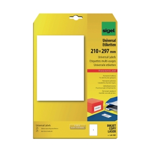 SIGEL LA181 UNIVERSAL WHITE LABEL 210 X 297MM - PACK OF 25