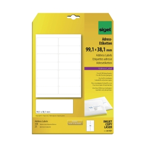 SIGEL LA321 WHITE ADDRESS LABEL 99.1 X 38.1MM - PACK OF 350