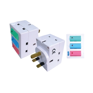 SUM 3 WAY 3 PIN ADAPTOR WITH ON/OFF SWIFT WITH SIRIM