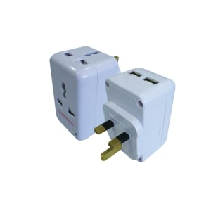SUM 2 WAY MULTI PIN WHITE ADAPTOR WITH 2 USB PORTS