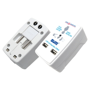 SUM ALL IN 1 TRAVEL ADAPTOR WITH TWO USB PORT
